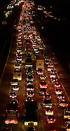Thousands of cars slowly make their way out of Houston, Texas on Highway 59 to escape Hurricane Rita September 21, 2005.