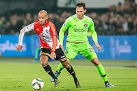 ROTTERDAM - Feyenoord - Ajax , Voetbal , KNVB Beker , Seizoen 2015/2016 , Stadion de Kuip , 25-10-2015 , Speler van Feyenoord Karim El Ahmadi (l) in duel met Ajax speler Nemanja Gudelj (r)