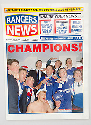 Champions front page from April 1990. Pictures and pages from the time at Rangers News 1989 to 1993..©Michael Schofield.