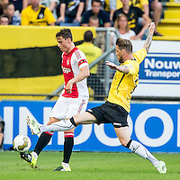 BREDA - NAC - Jong Ajax , Voetbal , Seizoen 2015/2016 , Jupiler league , Rat Verlegh Stadion , 21-08-2015 , Jong Ajax speler Damian van Bruggen (l) in duel met NAC Breda speler Kevin Brands (r)