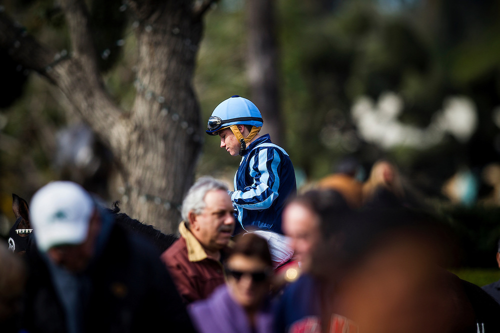 December 31 2014: Apprentice jockey, Drayden Van Dyke at Santa Anita Park in Arcadia CA. Alex Evers/ESW/CSM