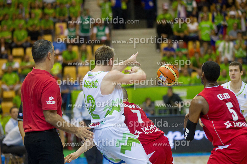 during basketball match between National teams of Slovenia and Poland in Round 1 at Day 6 of Eurobasket 2013 on September 9, 2013 in Arena Zlatorog, Celje, Slovenia. (Photo by Vid Ponikvar / Sportida.com)