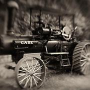 Case Steam Powered Tractor - Pottsville - Merlin, Oregon - Lensbaby - Sepia Black & White