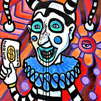 Jester Holding Joker Playing Card Mural in New Orleans, Louisiana<br /> This jester holding a joker is wearing the traditional motley-patterned costume of the court fool from the mid-16th century, better known as the Middle Ages. In New Orleans, the jester image is frequently seen during the Mari Gras, at the Harrah&rsquo;s casino, a ride at Six Flags, in souvenir shops, as the name of a cocktail, a retailer and the New Orleans Jesters soccer team. Perhaps this wall mural attests to all the foolishness occurring in and around Bourbon Street.