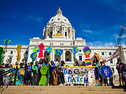 22 APRIL 2017 - ST. PAUL, MN: Marchers gather on the stairs in front of the Minnesota State Capitol during the March for Science. More than 10,000 people marched from the St. Paul Cathedral to the Minnesota State Capitol in St. Paul during the March for Science. March organizers said the march was non-partisan and was to show support for the sciences, including the sciences behind climate change and vaccines.      PHOTO BY JACK KURTZ
