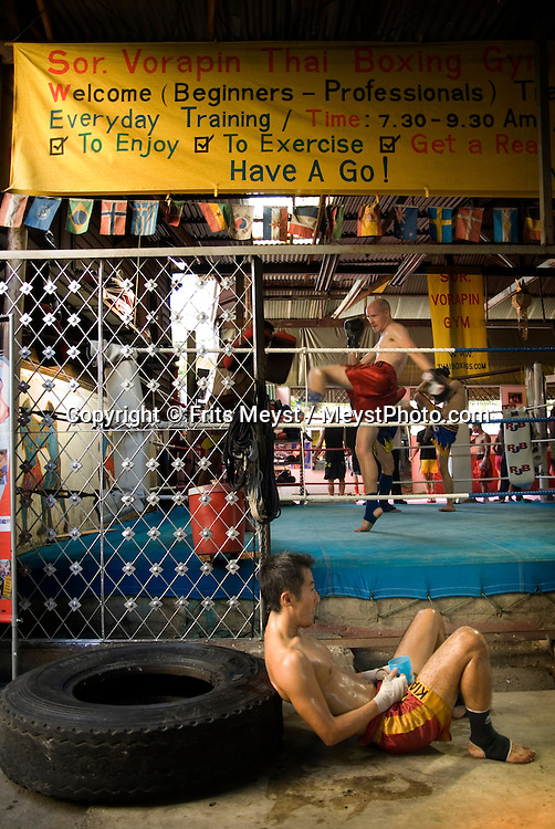 Bangkok, Thailand, April 2007. Muay Thai Boxing School Sor Voropin offers professional training for Thai and and foreign boxers. Many Thai and international Champions have trained here. Photo by Frits Meyst/Adventure4ever.com