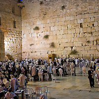 """JERUSALEM - SEP 26 : The Wailing wall during the penitential prayers the """"Selichot"""" , held on September 26 2011 in  Jerusalem , Israel"""