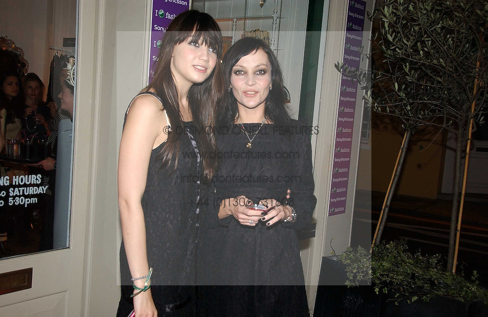 Left to right, DAISY LOWE and PEARL LOWE at a party to launch Pearl Lowe's fashion held at The Cross. 141 Portland Road, Holland Park, W11 on 30th October 2006.<br /><br />NON EXCLUSIVE - WORLD RIGHTS