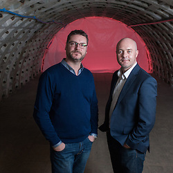 London, UK - 21 February 2014: Richard Ballard (L) and Steven Dring (R) pose for a portrait in the Zero Carbon Food - Growing Underground tunnels in Clapham