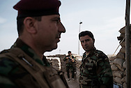 Iraq, Kurdistan: Peshmerga soldiers are seen at a military base on the frontline against IS in Makhmur district 50Km south of Mosul. Alessio Romenzi
