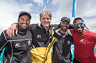 The Sevenstar Round Britain Race 2014. Musandam-Oman Sail MOD70 Trimaran sets a new world record and finishes the race in 3days 3hours 32minutes 36 seconds. Beating the current record by 16 minutes. Skipper Sidney Gavignet (FRA) with team mates Yassir Al Rahbi (OMA), Sami Al Shukaili (OMA), Fahad Al Hasni (OMA), Credit - Lloyd Images