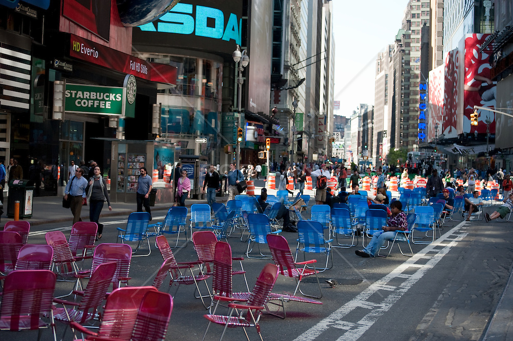 Folding Chairs In Times Square In New York City ROB LANG IMAGES LICENSING