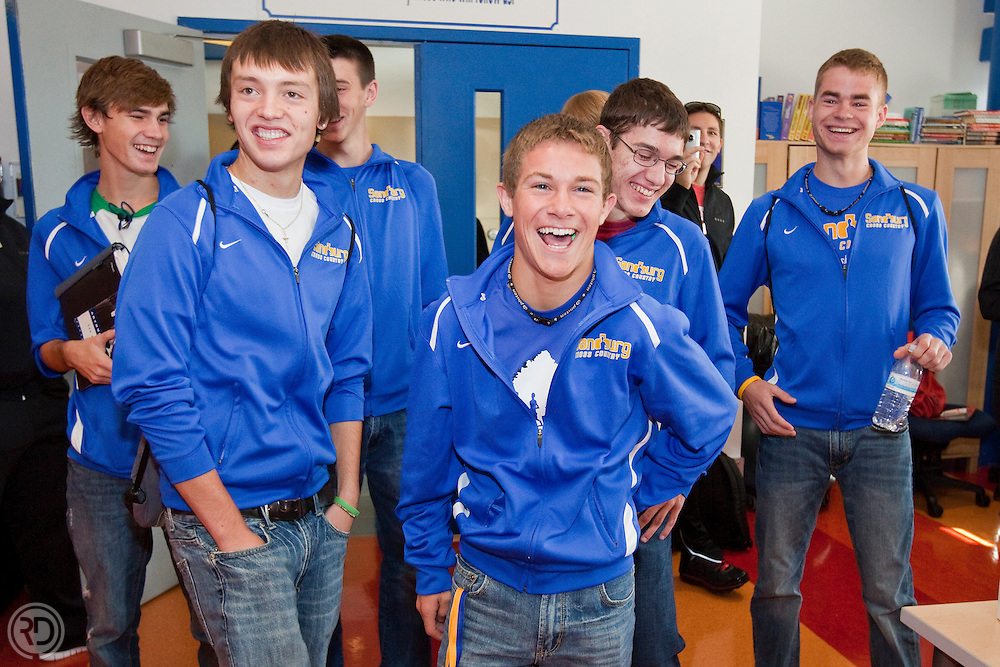 """Nike Staff visits Sandburg HS (Orland Park, IL) to personally deliver their """"kit"""" for participating in the Northside vs. Southside Challenge..October 5, 2010..Photograph by Ross Dettman"""