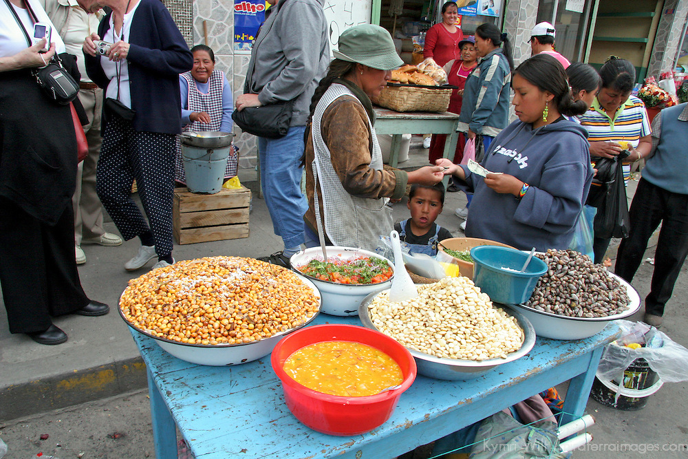 South America, Ecuador, Calderon. Street market scene in Calderon, a small Andean town outside of Quito.