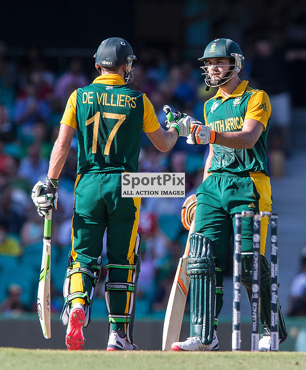 ICC Cricket World Cup 2015 Tournament Match, South Africa v West Indies, Sydney Cricket Ground; 27th February 2015<br /> South Africa&rsquo;s AB De Villiers and South Africa&rsquo;s Rilee Rossouw fist pump after another boundary