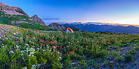 Backcountry camping on Utah's Mt. Timpanogos provides you with views of the Summer wildflowers and a viewpoint overlooking the Wasatch Mountain range.