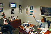Star strategist Jason Trennert at his office in Manhattan,  New York City..from left to right:.Donald J. Rissmiller (Partner/Chief Economist).Jason DeSenaTrennert (Managing Partner/Chief Investment Strategist)..Strategas Research Partners, LLC is a leading investment strategy, macro-economic, and policy research firm focused on providing timely and insightful research on the global equity and debt markets to the institutional investment community. The Firm was co-founded by Jason Trennert, Nicholas Bohnsack and Don Rissmiller, and employs research analysts and institutional salesmen at offices in New York and Washington DC..