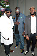 "June 2, 2012- Philadelphia, PA, United States: (L-R) Recording Artist Black Thought (ROOTS), Recording Artist Truck North and Recording Artist Yasiin Bey attends the 5th Annual ROOTS Picnic held at Festival Pier at Penn's Landing in Philadelphia, PA . The Roots is an American hip hop/neo soul band formed in 1987 by Tariq ""Black Thought"" Trotter and Ahmir ""Questlove"" Thompson in Philadelphia, Pennsylvania. They are known for a jazzy, eclectic approach to hip hop which includes live instrumentals. (Photo by Terrence Jennings)"