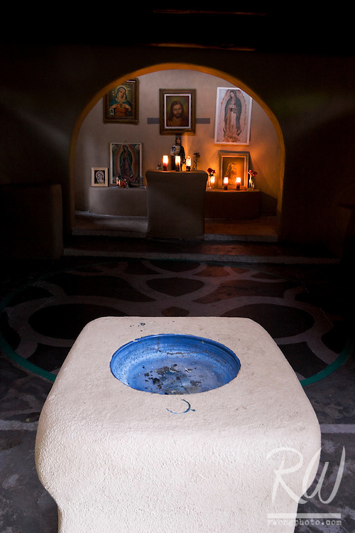 Capilla de Nuestra Senora de Guadalupe (Our Lady of Guadalupe Chapel) Interior at Old Town Plaza, Albuquerque, New Mexico