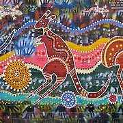 "This aboriginal art design by Danny Eastwood was painted by the youth and people of Woolloomooloo in August 1998 on a public wall in Sydney, New South Wales (NSW), Australia. Published for educational purposes in ""Light Travel: Photography on the Go"" book by Tom Dempsey 2009, 2010."