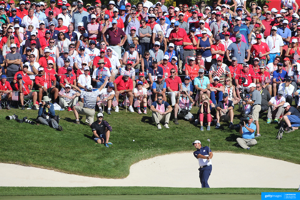 Ryder Cup 2016. Day Three. Patrick Reed of the United States chips out of the sand trap on the sixteenth during his win against Rory McIlroy of Europein the Sunday singles competition at  the Ryder Cup tournament at Hazeltine National Golf Club on October 02, 2016 in Chaska, Minnesota.  (Photo by Tim Clayton/Corbis via Getty Images)