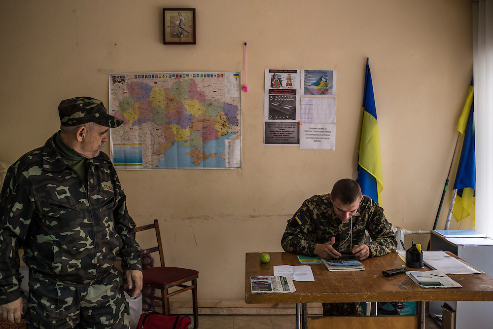 The headquarters of the Berdyansk self-defense force, a local pro-Ukraine guard group, on Wednesday, October 15, 2014 in Berdyansk, Ukraine. Photo by Brendan Hoffman, Freelance
