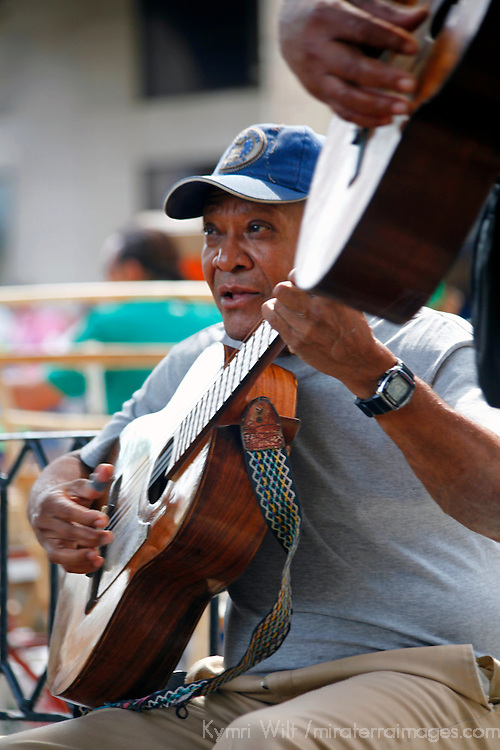 Central America, Cuba, Havana. Guitar players in Old Havana.