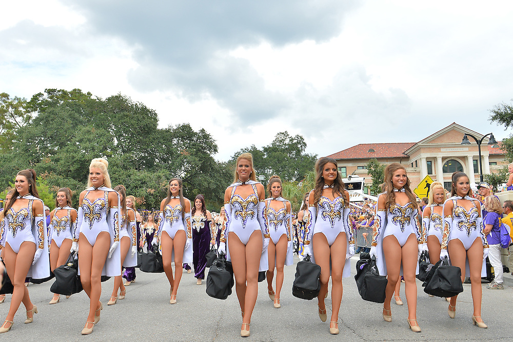 September 27, 2014: The LSU Tigers Golden Girls take the Tiger Walk before a game between New Mexico State and No. 17/18 LSU at Tiger Stadium in Baton Rouge, LA.