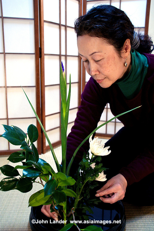 """Japanese woman arranging an Ikebana Flower Arrangment - Ikebana, meaning """"arranged flower"""" is the Japanese art of flower arrangement, also known as kado - the """"way of flowers"""".  More than simply putting flowers in a container, ikebana is a disciplined art form in which nature and humanity are brought together. Contrary to the idea of floral arrangement as a multicolored arrangement of blooms, ikebana emphasizes other areas of the plant, such as its stems and leaves, and draws emphasis towards shape, line and form. Though ikebana is a creative expression it has certain rules governing its form."""
