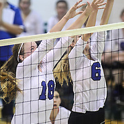 Charter KristenEdmiston (18) and Madeline Matheny (6) attempts to block a spike during the 2nd Round of the 2015 DIAA Girls Volleyball Tournament Saturday, Nov. 07, 2015 at Archmere Academy in Claymont.