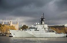 NOV 05 2014 HMS Severn sails on The Thames