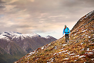A hiker explores the high elevation tundra on the Skookum Volcano Trail in Wrangell-St. Elias National Park, near Nabesna, Alaska.