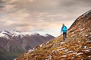 A hiker explores the high elevation tundra on the Skookum Volcano Trail in Wrangell-St. Elias National Park, near Nabesna, Alaska.