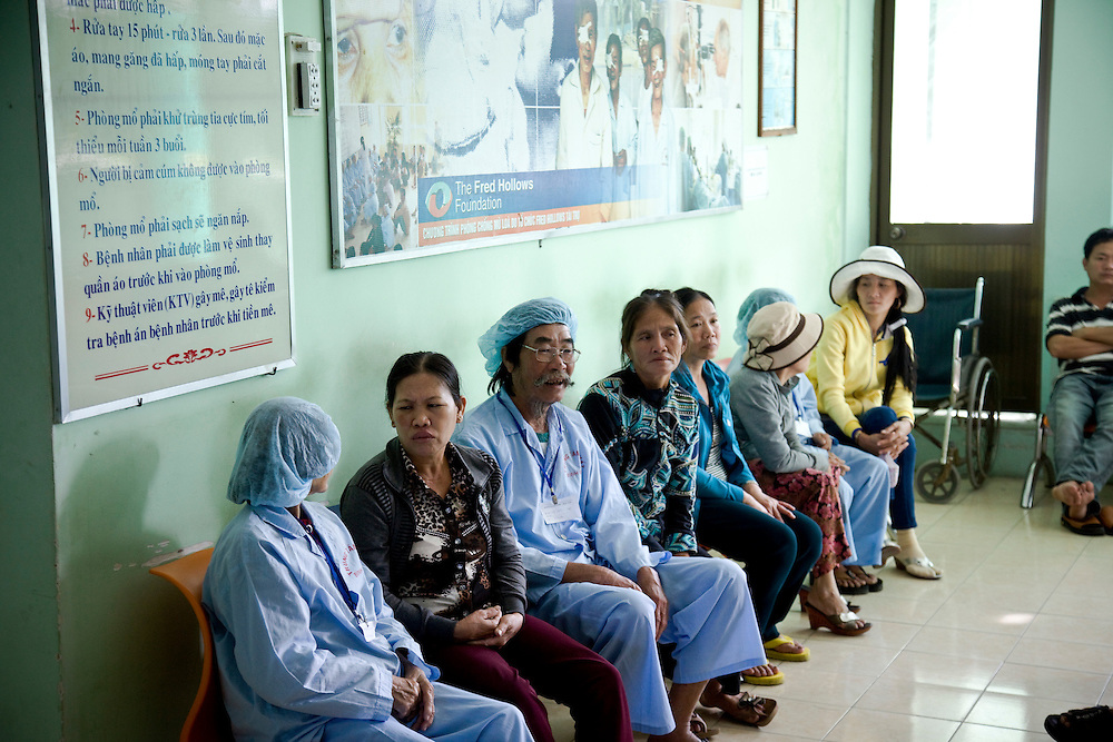 Patients in the pre operative room before surgery at Binh Dinh Eye Hospital