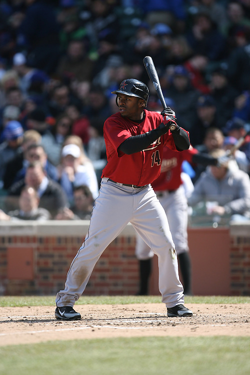 CHICAGO - APRIL 4:  Michael Bourne #14 of the Houston Astros bats during the game against the Chicago Cubs at Wrigley Field in Chicago, Illinois on April 4, 2008.  The Astros defeated the Cubs 4-3.  (Photo by Ron Vesely)
