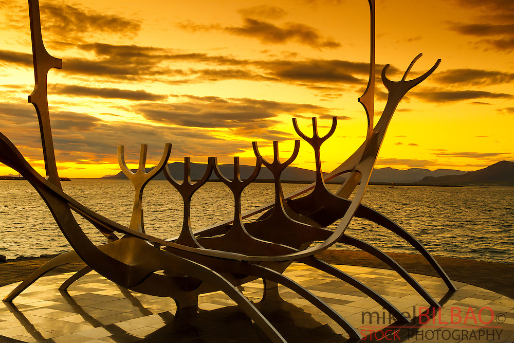 Solfar Suncraft sculpture. (Sun voyager). Reykjavik, Iceland, Europe.