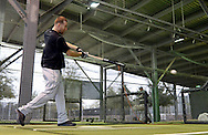 GLENDALE, ARIZONA - FEBRUARY 18:  Todd Frazier #21 of the Chicago White Sox hits in the batting cage during spring training workouts on February 18, 2017 at Camelback Ranch in Glendale Arizona.  (Photo by Ron Vesely)   Subject:  Todd Frazier