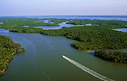 Aerial image of Whitewater Bay in Everglades National Park, Florida, American Southeast