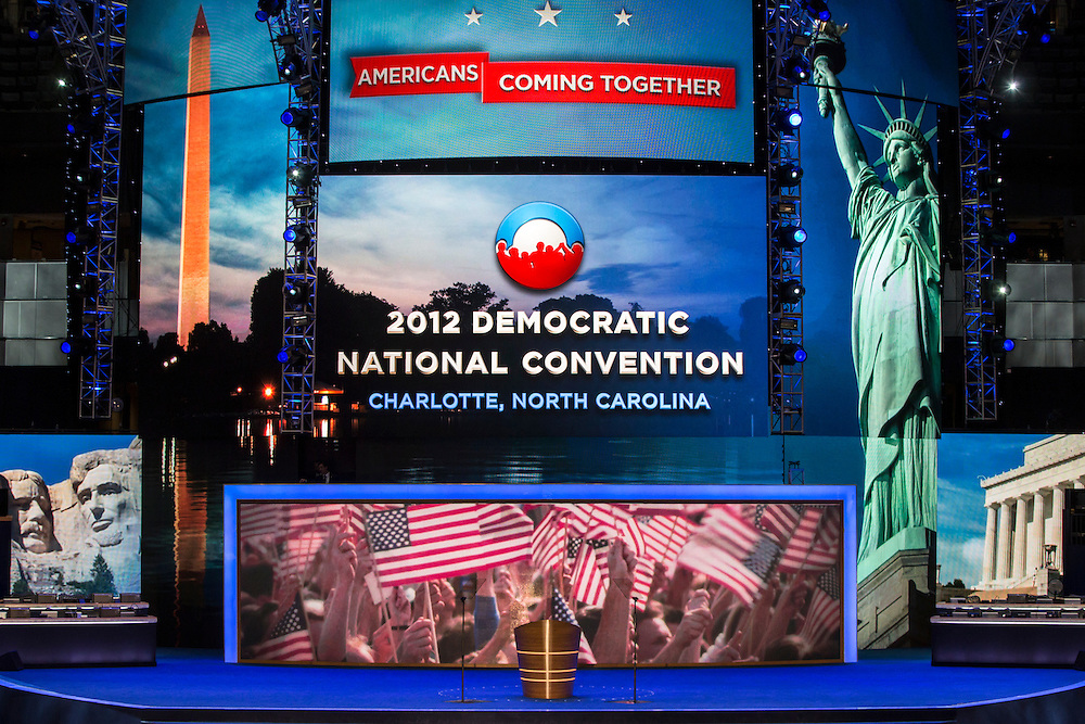 The main stage for the Democratic National Convention in the Time Warner Cable Arena on Tuesday, September 4, 2012 in Charlotte, NC.