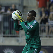 D.C. United Keeper BILL HAMID (28) makes a save in the second half a MLS regular season match against the Philadelphia Union Saturday. August. 10, 2013 at PPL Park in Chester PA.