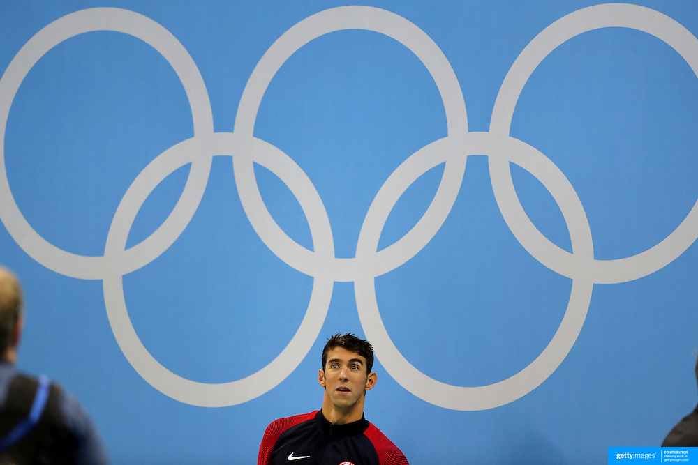 Swimming - Olympics: Day 6   Michael Phelps of the United States on the podium after winning the Men's 200m Individual Medley Final during the swimming competition at the Olympic Aquatics Stadium August 11, 2016 in Rio de Janeiro, Brazil. (Photo by Tim Clayton/Corbis via Getty Images)