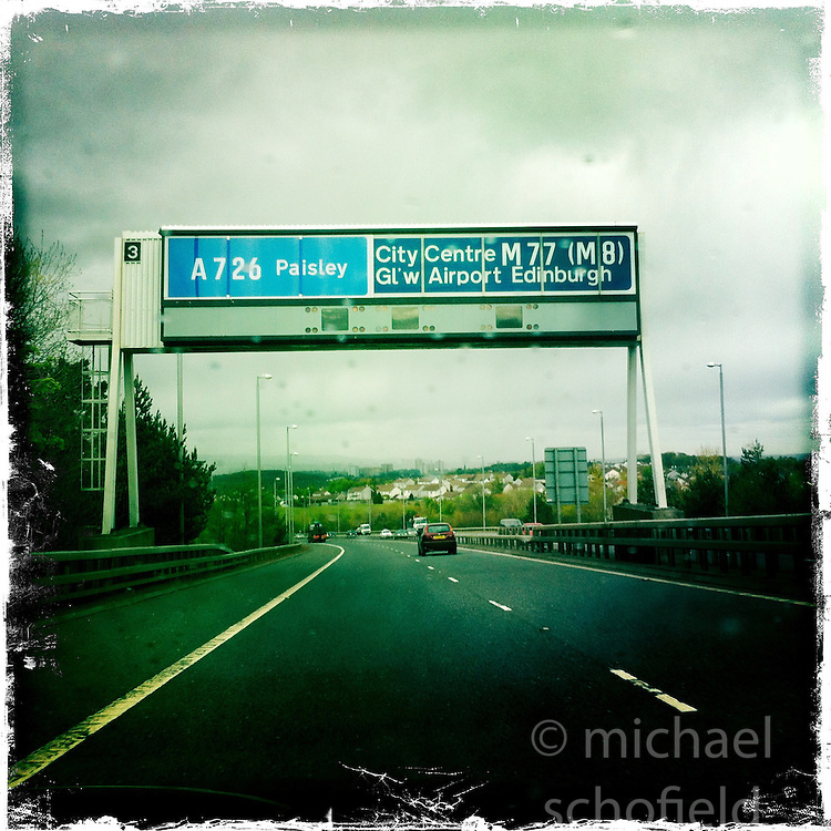M77 towards Glasgow..Hipstamatic images taken on an Apple iPhone..©Michael Schofield.
