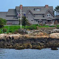 George H. W. Bush Summer Compound on Walker's Point in Kennebunkport, Maine<br /> In 1903, George H. Walker built a mansion on what was called Point Vesuvius in Kennebunkport, Maine. George H.W. Bush spent his boyhood summers here. The former president eventually inherited his grandfather&rsquo;s view of the Atlantic Ocean, now called Walker&rsquo;s Point. There are nine bedrooms in this New England style home, plus a pool, tennis court, guesthouse and boathouse. The Bush compound became the Summer White House during his presidency. Guests have included Vladimir Putin, Bill Clinton, Mikhail Gorbachev, Margaret Thatcher and many other world dignitaries.