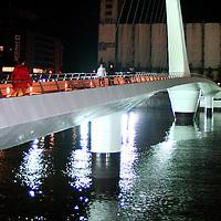 "The Puente de la Mujer (Spanish for ""Woman's Bridge""), designed by Santiago Calatrava, is a footbridge in the Puerto Madero district of Buenos Aires, Argentina."