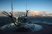 The Sun Voyager (Solfár) sculpture along Reykjavik's waterfront at sunset
