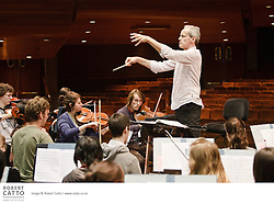 The New Zealand Symphony Orchestra National Youth Orchestra (NYO) rehearse with conductor Paul Daniel, in preparation for their concert of Mahler, Ravel and Natalie Hunt with soloist John Chen (piano).