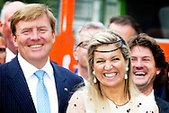 POZNAN - King Willem-Alexander and Queen Maxima of The Netherlands visit the National Museum in Poznan, Poland, 25 June 2014. In the museum the King and Queen attend a seminar about transport and logistics and the entrepreneurs market in the old hall with tables of the chamber of commerce, agrofood and horticulture. The king and queen are in Poland for their first state visit 24 and 25 june. COPYRIGHT ROBIN UTRECHT