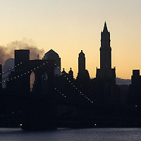 President Bush's chopper can be seen leaving the smoldering remains of powerless Lower Manhattan.