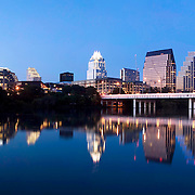 View of downtown Austin from Riverside, across Town Lake