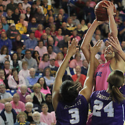 Delaware Forward Elena Delle Donne (11) shoots the ball over James Madison Forward Toia Giggetts (3) and James Madison Guard Jazmon Gwathmey (24) in the second half a regular season NCAA basketball game against James Madison Sunday, Feb 24, 2013 at the Bob Carpenter Center in Newark Delaware...Delaware (24-3; 15-0) defeated James Madison (18-9; 13-3) 61-60